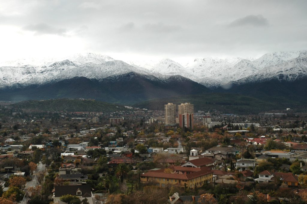 after a light snow in the mountains